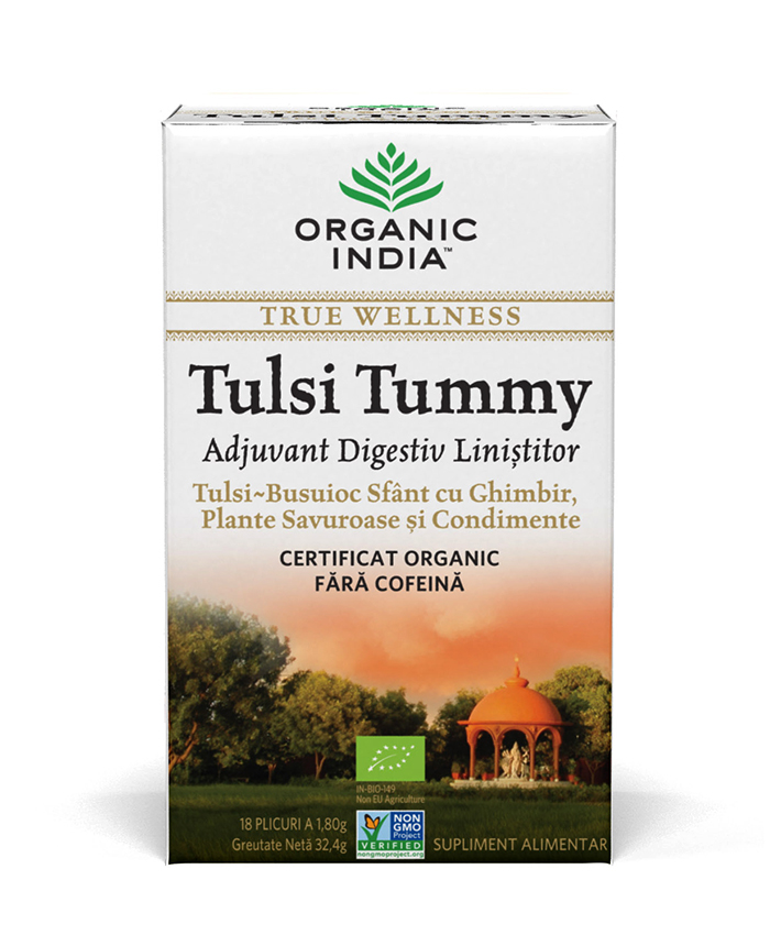 Ceai Digestiv Tulsi (Busuioc Sfant) Tummy cu Ghimbir, Plante Savuroase si Condimente, plicuri*