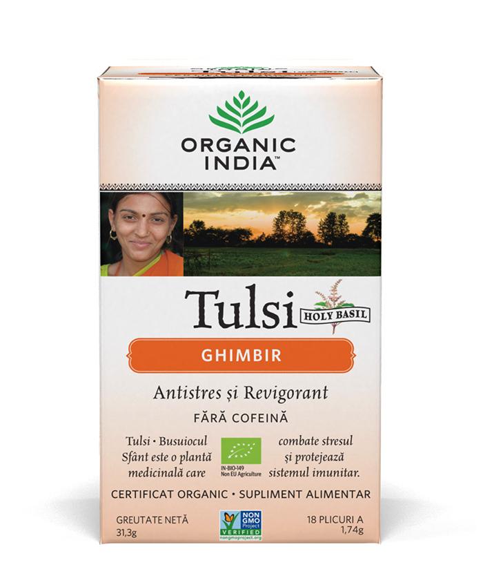 Ceai Tulsi (Busuioc Sfant) Ghimbir | Antistres Natural si Revigorant, plicuri