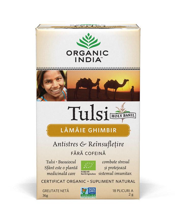 Ceai Tulsi (Busuioc Sfant) cu Lamaie si Ghimbir | Antistres Natural & Reinsufletire, plicuri