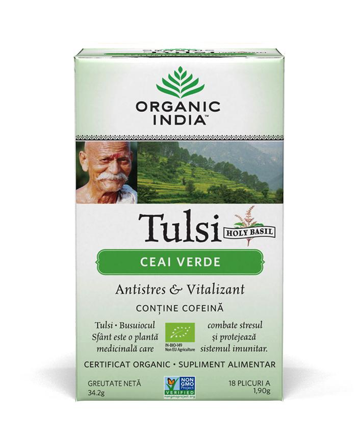Ceai Tulsi (Busuioc Sfant) cu Ceai Verde | Antistres Natural & Vitalizant, plicuri*