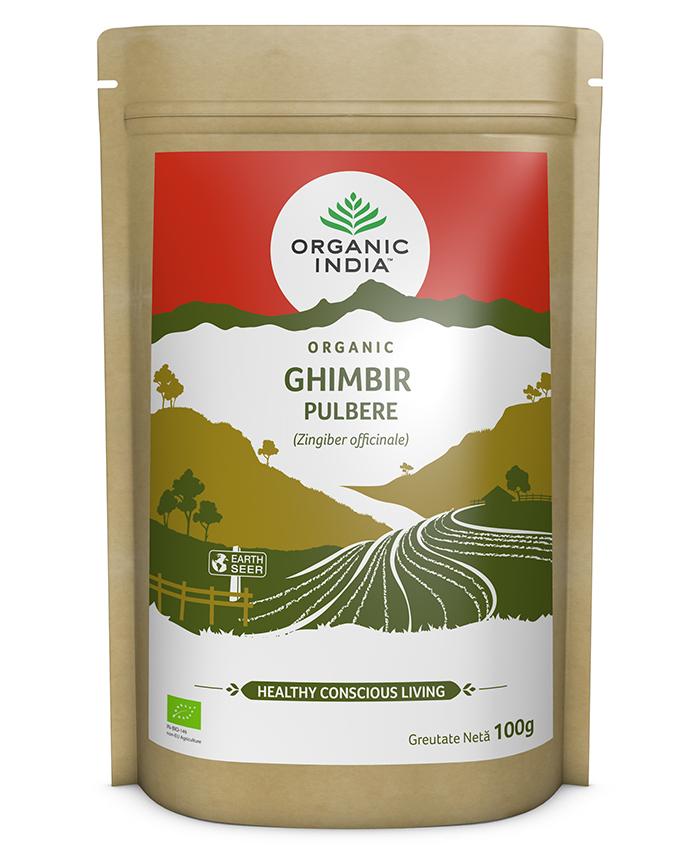 ORGANIC INDIA Ghimbir Certificat Ecologic Pulbere 100g | Fără Gluten