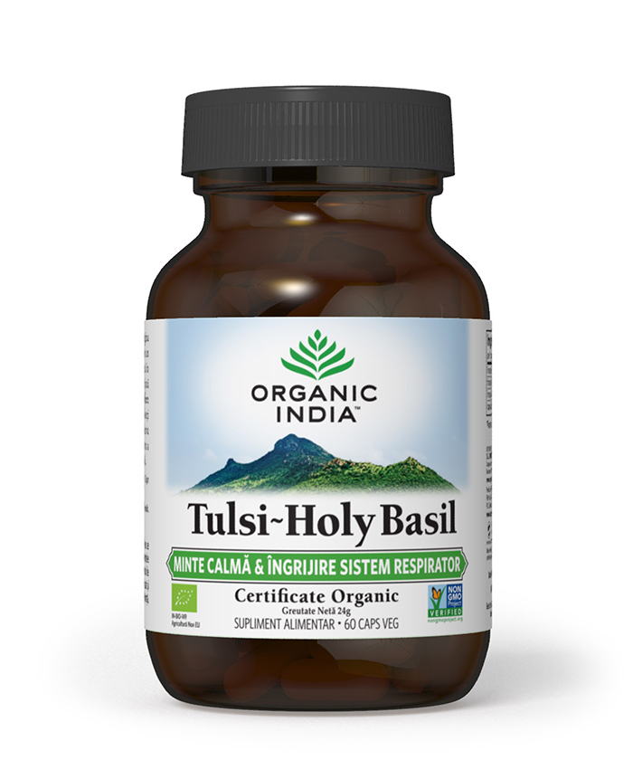 Tulsi (Busuioc Sfant) | Minte Calma & Ingrijire Sistem Respirator, 60 capsule vegetale