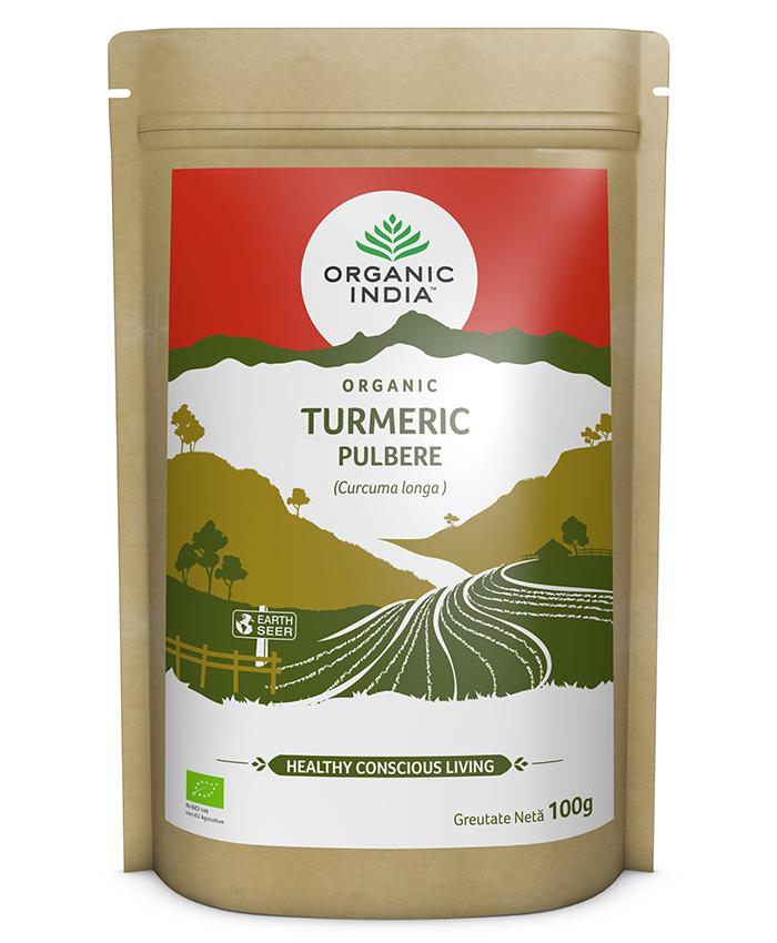ORGANIC INDIA Turmeric Certificat Ecologic Pulbere 100g | Fără Gluten