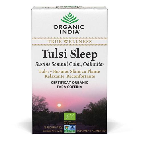 Ceai Tulsi Sleep cu Plante Relaxante, Reconfortante | Somn Calm, Odihnitor, plicuri
