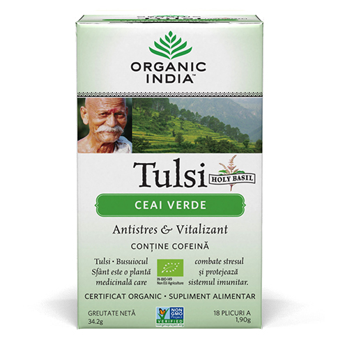 Ceai Verde Tulsi (Busuioc Sfant) | Antistres Natural & Vitalizant, plicuri