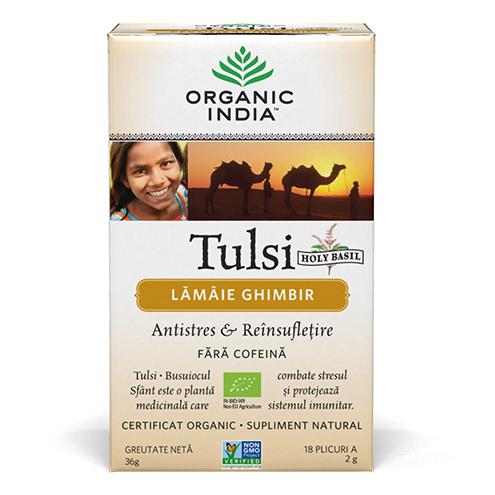 Ceai Tulsi (Busuioc Sfant) cu Lamaie si Ghimbir | Antistres Natural & Reinsufletire