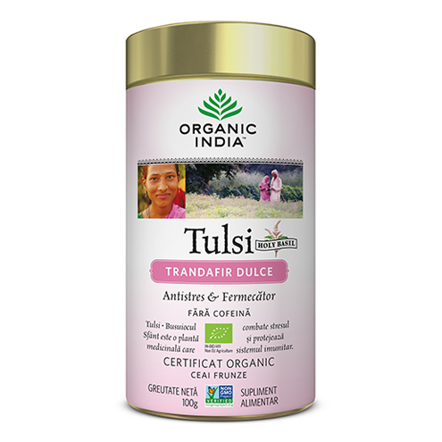 Ceai Tulsi (Busuioc Sfant) Trandafir Dulce | Antistres & Fermecator, cutie 100g