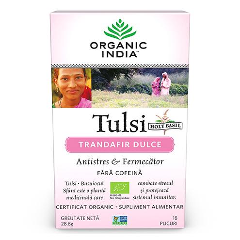 ORGANIC INDIA Tulsi (Busuioc Sfant) Trandafir Dulce Antistres & Fermecator