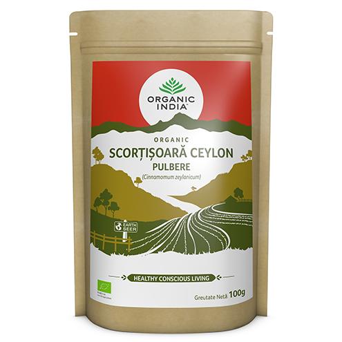 ORGANIC INDIA Scorțișoară Ceylon Certificată Ecologic Pulbere 100g | Fără Gluten